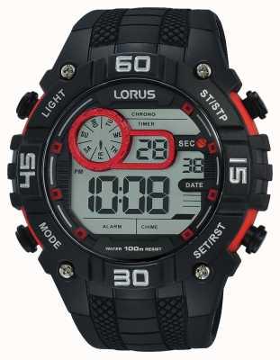Lorus Mens Digital Watch Black And Red R2355LX9