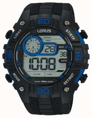 Lorus Mens Digital Watch Black And Blue R2353LX9