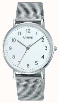 Lorus Womans Soft White Dial Silver Mesh Strap RH823CX9