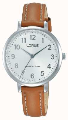 Lorus Womans Soft White Dial Tan Leather Strap RG237MX7