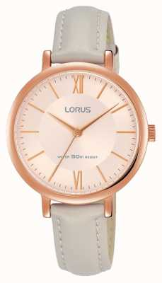 Lorus Womans Rose Gold Sunray Dial Leather Strap RG264MX9