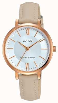 Lorus Womans Silver Sunray Dial Leather Strap RG264LX8