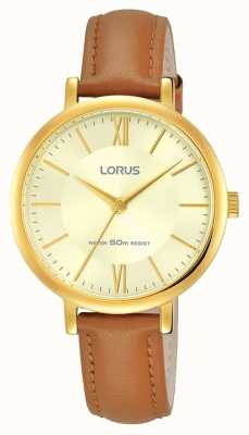 Lorus Womans Gold Sunray Dial Leather Strap RG266MX9