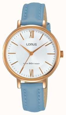 Lorus Womans Sunray Dial Soft Blue Leather Strap RG264LX5