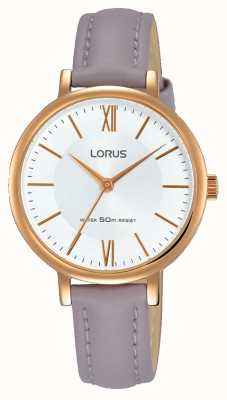 Lorus Womans Sunray Dial Soft Mauve Leather Strap RG264LX6