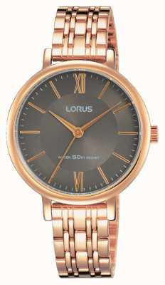 Lorus Womans Soft Grey Sunray Dial Rose Gold Bracelet RG270MX9