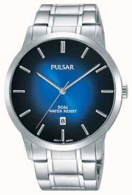 Pulsar Mens Silver Steel Bracelet Blue Gradation Dial PS9527X1
