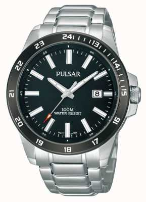 Pulsar Mens Stainless Steel Bracelet Black Dial PS9223X1