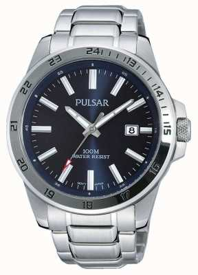 Pulsar Mens Stainless Steel Bracelet Blue Dial PS9331X1