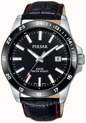 Pulsar Mens Black Leather Strap Black Dial PS9463X1