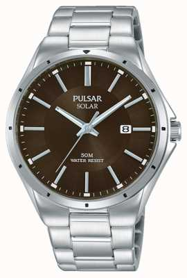 Pulsar Mens Stainless Steel Bracelet Brown Dial PX3137X1