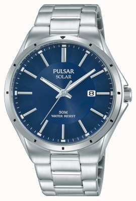 Pulsar Mens Stainless Steel Bracelet Blue Dial PX3139X1