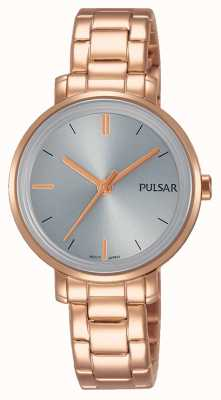Pulsar Womans Rose Gold Stainless Steel Bracelet Grey Dial PH8362X1