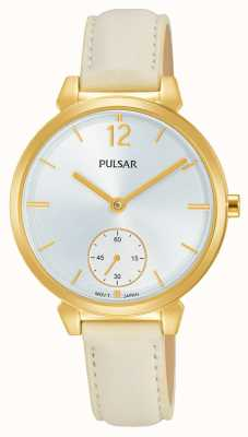 Pulsar Womans Cream Leather Strap Silver Dial PN4058X1
