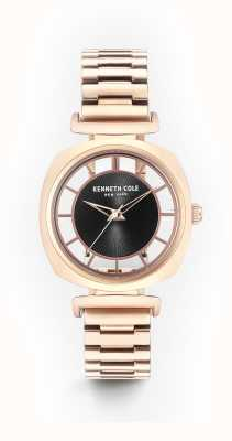 Kenneth Cole Womans Black Transparency Dial Rose Gold Steel Bracelet KC15108001