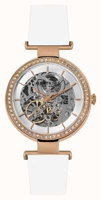 Kenneth Cole Womans Automatic Skeleton Dial White Leather Strap KC15107001