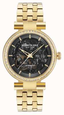 Kenneth Cole Womans Automatic Black Skeleton Dial Gold Bracelet KC15107003