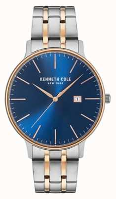 Kenneth Cole Mens Two Tone Steel Bracelet Blue Date Dial KC15095002