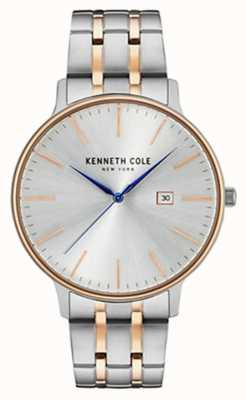 Kenneth Cole Mens Two Tone Steel Bracelet Silver Date Dial +