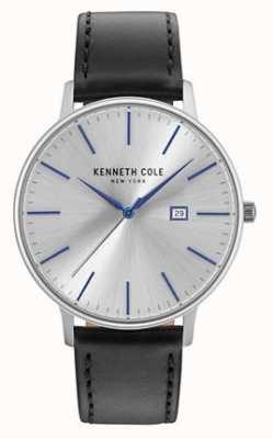 Kenneth Cole Mens Dark Silver Date Dial Black Leather Strap KC15059006