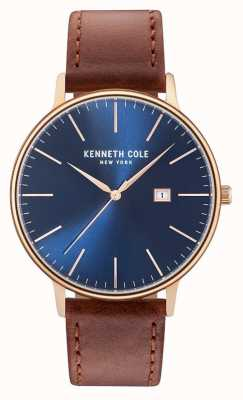 Kenneth Cole Mens Dark Blue Date Dial Brown Leather Strap KC15059007