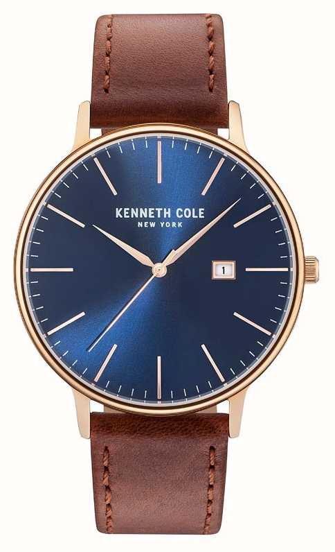 Kenneth Cole Mens Dark Blue Date Dial Brown Leather Strap ...