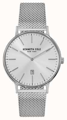 Kenneth Cole Mens Stainless Steel Mesh Bracelet Silver Date Dial KC15057009