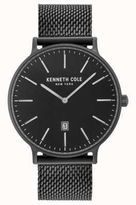 Kenneth Cole Mens Black Ion Plated Steel Mesh Bracelet Black Date Dial KC15057012