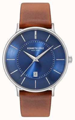 Kenneth Cole Mens Dark Blue Date Dial Brown Leather Strap KC15097001