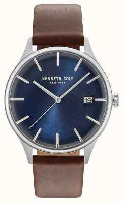 Kenneth Cole Mens Dark Blue Date Dial Brown Leather Strap KC15112001