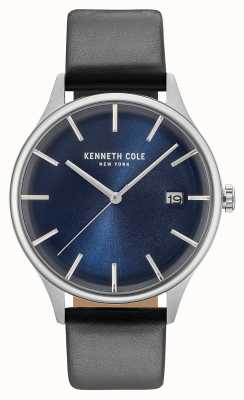 Kenneth Cole Mens Dark Blue Date Dial Black Leather Strap KC15112004