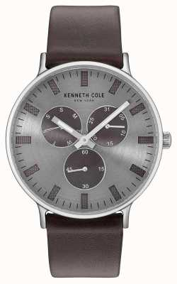 Kenneth Cole Mens Multifunction Light Grey Dial Dark Brown Leather Strap KC14946001