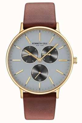 Kenneth Cole Mens Multifunction Light Grey Dial Brown Leather Strap KC14946003