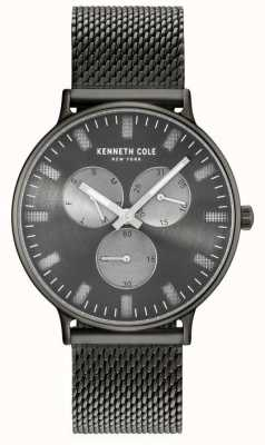 Kenneth Cole Mens Multifunction Gun Dial Ion Plated Steel Mesh Bracelet KC14946015