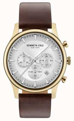 Kenneth Cole Mens Multifunction Light Grey Dial Brown Leather Strap KC15106003