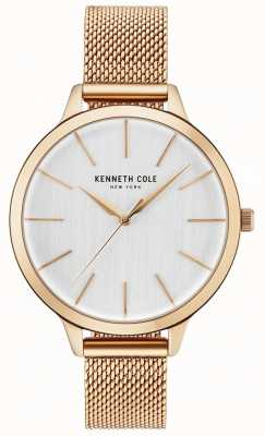 Kenneth Cole Womans White Dial Rose Gold Mesh Bracelet KC15056014