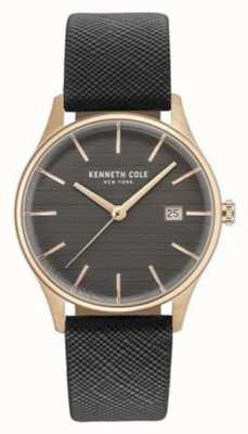 Kenneth Cole Womans Gunmetal Grey Dial Grey Leather Strap KC15109001