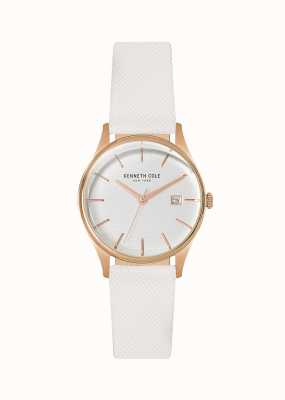 Kenneth Cole Womens White Leather Battery Powered Quartz KC15109002