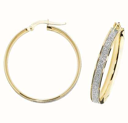 James Moore TH 9k Yellow Gold Diamond Cut Hoop Earrings ER1023-25