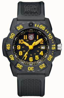 Luminox Mens Navy Seal 3500 Black Dial Yellow Accents PU Black Strap XS.3505