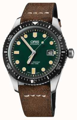 Oris Divers Sixty-five Automatic Brown Leather Strap Green Dial 01 733 7720 4057-07 5 21 02