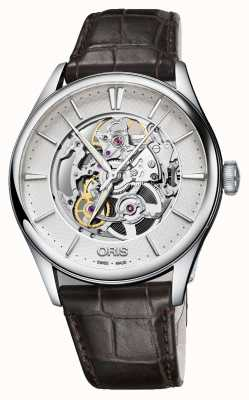 ORIS Artelier Skeleton Automatic Brown Leather Strap 01 734 7721 4051-07 5 21 65FC