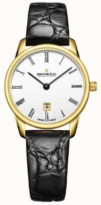Dreyfuss Womans 1980 Leather Strap Gold Case Watch DLS00136/01