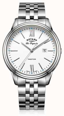 Rotary Mens Stainless Steel Bracelet White Dial GB90194/01