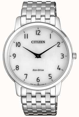 Citizen Mens Stiletto Ultra Thin Stainless Steel White Dial Watch AR1130-81A