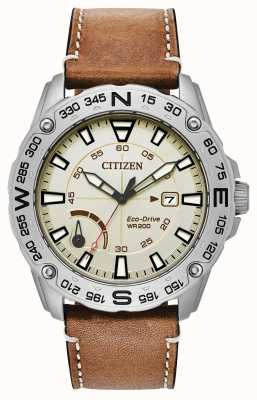 Citizen Mens Eco-drive Brown Leather Strap Power Reserve AW7040-02A