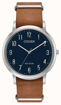 Citizen Mens Eco-drive Brown Leather Strap Blue Dial BJ6500-12L