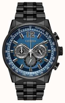 Citizen Mens Eco-drive Nighthawk Chronograph Black IP CA4375-59L