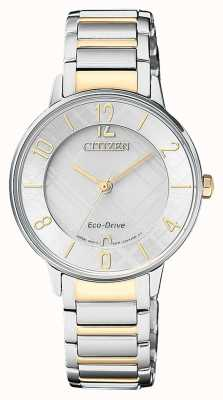 Citizen Womens Eco-drive Two Tone Pattern Dial Watch EM0524-83A
