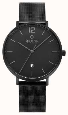 Obaku Mens Toft Charcoal Mesh Strap Watch V181GDBBMB